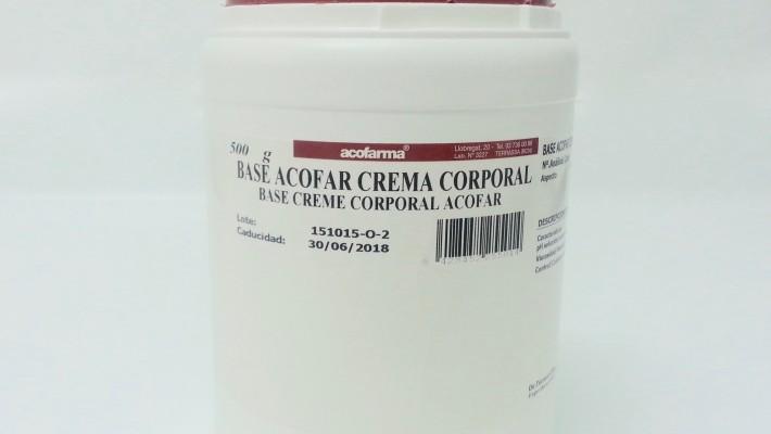 Formulación de una mezcla anestésica eutéctica en Base acofar crema corporal